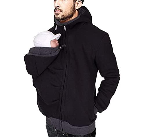 Men's Kangaroo Hoodie for Dad and Baby Carrier Coat Baby Carriers Sweatshirt Pullover (Black, Medium)