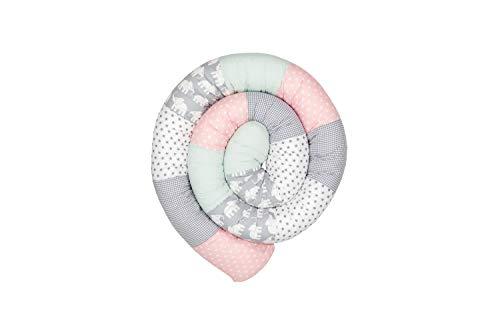 Cojín protector para cuna de ULLENBOOM ® cojín chichonera en forma de serpiente elefantes menta rosa (ideal para proteger al bebé de los barrotes de la cuna o como cojín de apoyo)
