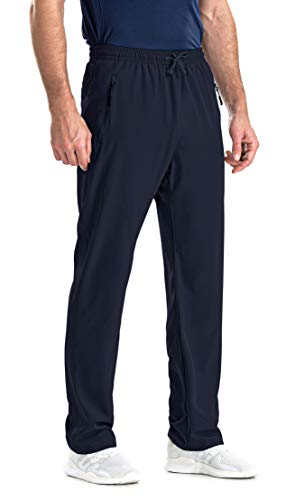 clothin Men's Elastic-Waist Drawstring Pants for Sport Exercise Travel,Quick-Dry,Stretchy,Navy,L(34-37W x 30L)