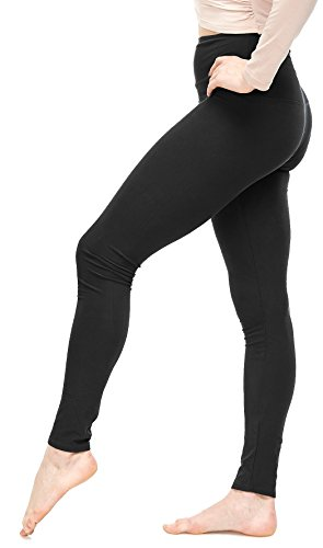 Lush Moda Leggings for Women - Ultra High Waisted - Solid Colors - Stretchy and Buttery Soft (One Size (XS - L), Black)
