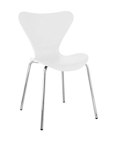 Lo+DeModa Set di 2 sedie da cucina Jacob in Polipropilene e Metallo Cromato bianco, 59x55x7.1 cm