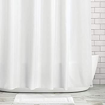 mDesign Heavy Duty Flat Weave Fabric Shower Curtain Liner - Weighted Bottom Hem for Bathroom Shower and Bathtub - 72  x 72  - White