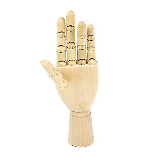 Gobesty Gliederhand, Handmodell aus Holz Meister Modellhand Bewegliche Modellhand mit exakt gegliederten Fingern und flexiblen Gelenken für Anfänger, Profis und Künstler, 25 cm Links Hand