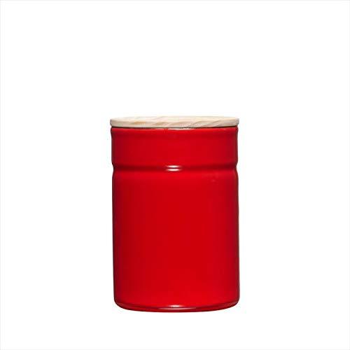 Riess – Boîte de conservation KIMA – Boîte de conservation avec couvercle – Émail/bois – Tomate/rouge – Ø 8 cm – 525 ml – Hauteur 12 cm