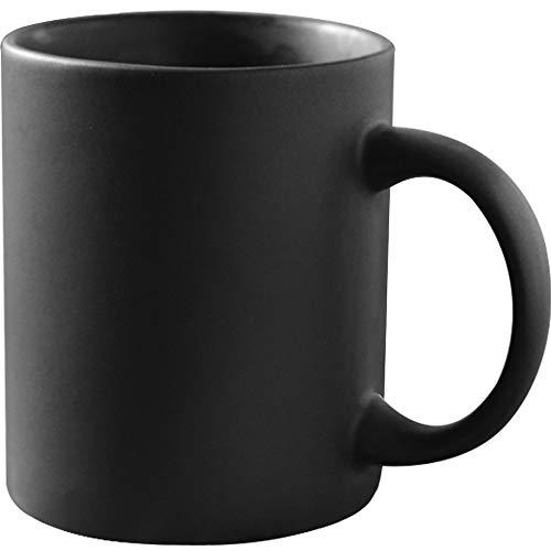 12 oz Matte Black Porcelain Coffee Mug, Smilatte Classic Ceramic Cup with Hanlde for Latte Cappuccino Tea