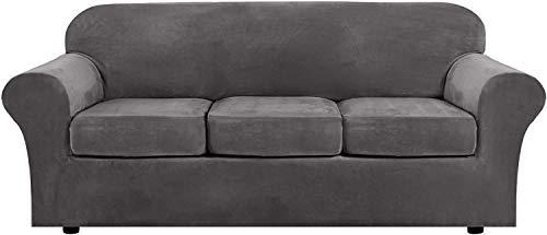 WLVG Funda de sofá de Terciopelo con 2 Fundas de cojín separadas, Protector de Muebles Antideslizante de Repuesto de Funda de sofá de Felpa Ultra Suave elástica con Fondo elástico (Gris, 3 plazas