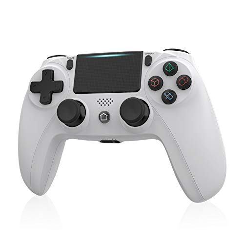 Wireless Controller for PS4, Tiiroy Gamepad Remote Joystick for Playstation 4/Pro/Slim Game Console with Double Vibration and Audio Function (White)