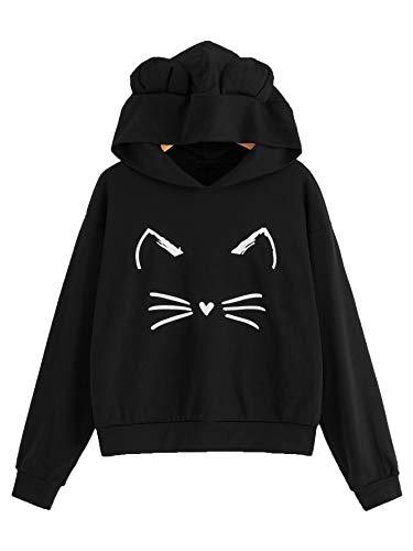Romwe Women's Cat Print Sweatshirt Long Sleeve Loose Pullover Shirt Black-Hooded X-Large