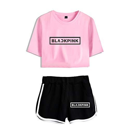Blackpink KPOP Ropa JISOO Lisa Rose Jennie Camiseta Set Expuestos Pantalones Cortos Ombligo Traje De La Camiseta Crop Top T-Shirt