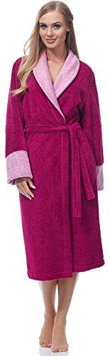 Merry Style Bata Larga Vestidos de Casa Ropa Mujer MSLL1003 (Amaranto/Rosa, S)