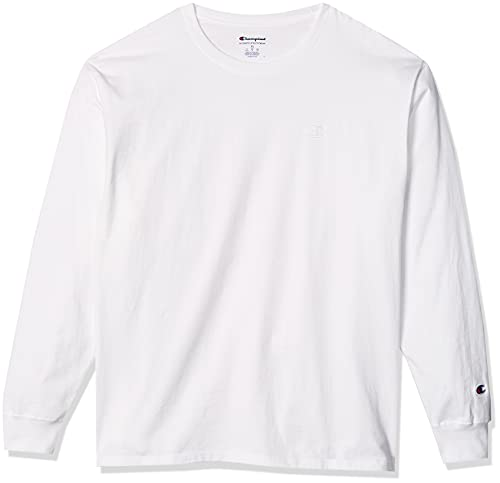 Champion Men's Classic Jersey Long-Sleeve Tee, White, L