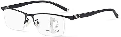 Gafas de lectura Azul claro filtrado de vidrios de lectura, multifocal progresiva, marco de aleación anti-azul claro Anteojos de telefonía móvil, multifocal progresiva dioptría gafas lentes, gafas uni