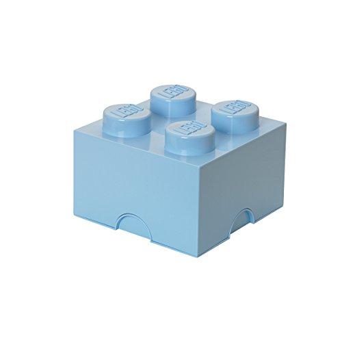 LEGO Aufbewahrungsstein, 4 Noppen, Stapelbare Aufbewahrungsbox, 5,7 l, hellblau