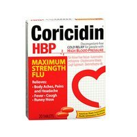 Coricidin High Blood Pressure Maximum Strength Flu Medicine Tablets - 20 Ea, 2 Pack