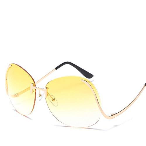 chuanglanja Gafas De Sol Vogue Mujer Gafas De Sol De Gran Tamaño Para Mujer Gafas Con Tinte Degradado Pierna Doblada Para Mujer/Hombre Gafas De Sol Al Aire Libre UV400-Color-R