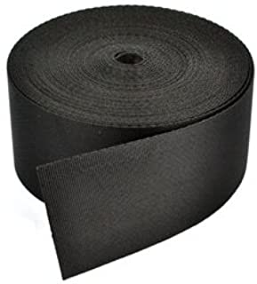 Cosmos ® 2 Inches Wide 10 Yards Black Nylon Heavy Webbing Strap with Cosmos Fastening Strap