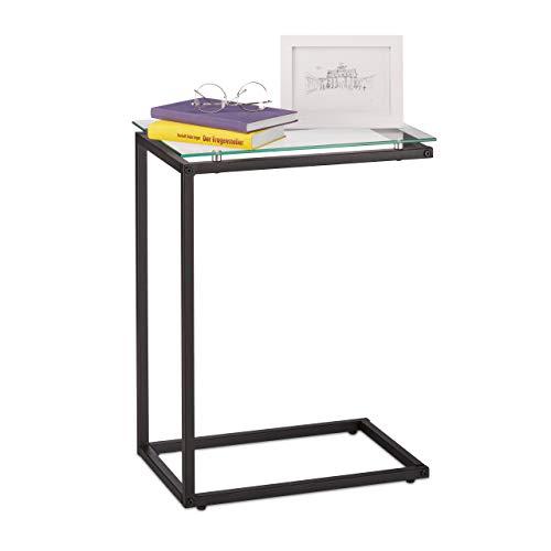 Relaxdays Beistelltisch, U-Form, Glas Tischplatte, Metall, Bauhausstil, Konsolentisch HxBxT: 61 x 30 x 45 cm, schwarz, 1 Stück