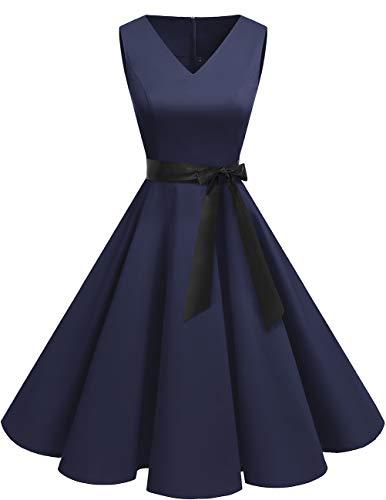 bridesmay 1950er V-Ausschnitt Kleid Vintage Cocktailkleid Rockabilly Retro Schwingen Kleid Faltenrock Navy 2XL