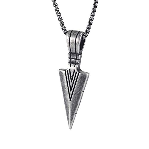 PAURO Men's Stainless Steel Jewelry Spearhead Indian Arrowhead Pendant Spear Point Arrow Necklace Ancient Silver with Chain