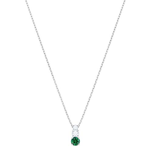 Swarovski Collana Con Pendente Attract Trilogy Round, Cristallo Verde, Rodiata, da Donna