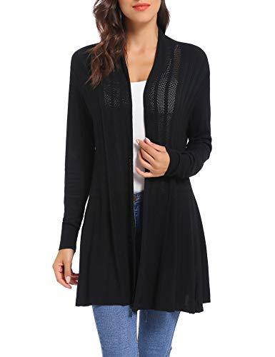 iClosam Damen Cardigan Lang Dünne Jacke mit Leichter Transparenz Langarm Strickjacke