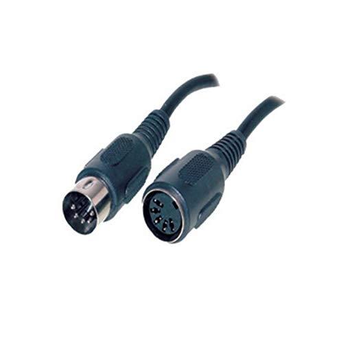Diodenkabel DIN Kabel 5-Polig Verlängerung/Kupplung, Audiokabel, DIN-Stecker auf DIN-Buchse, Midi-Kabel, Dioden-Stecker/Buchse, Dioden-Anschlusskabel, AUX Kabel, schwarz 2,5m
