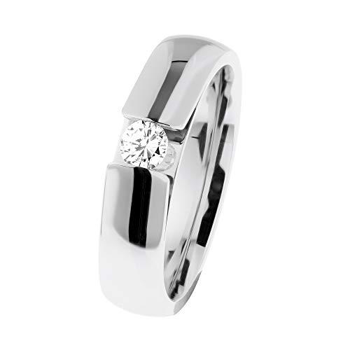 Ernstes Design R519 - Anello in acciaio INOX con diamante 0,15 ct tw/si, misura 48-65