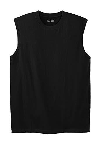 KingSize Men's Big & Tall Shrink-Less Lightweight Muscle T-Shirt - Tall - 4XL, Black