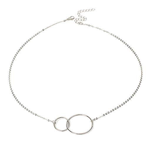 Aisoway Gargantilla De Plata Doble Círculo De Bloqueo De La Clavícula del Collar De Las Mujeres Collar