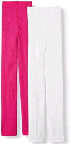 Girls 2 Pack Footed Fleece Pink and White Tights (Large 12/14)