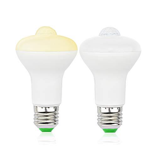 LED 電球 E26 人感センサー 付き 室内センサーライト 防犯夜灯 360度回転 持続時間40秒 5W 500lm 50W白熱電球相当 感知距離3〜6m 自動点灯/消灯 廊下/玄関/階段 昼光色 6000k 省エネ 放射なし 2個