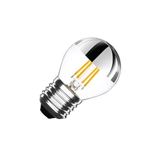 LEDKIA LIGHTING Bombilla LED E27 Casquillo Gordo Regulable Filamento Chrome Reflect Small Classic G45 3.5W Blanco Neutro 4000K - 4500K