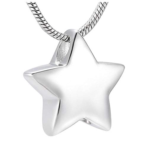 Wxcvz Cremation Necklace Modern Star Keepsake Pendant,Stainless Steel Cremation Jewelry Holds A Small Amount Of Remains Or A Piece Of Hair