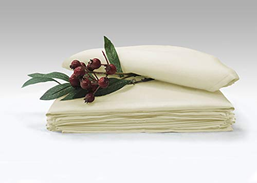 Soft Absorbent Cotton Cloth Small Dinner Napkins Cream Pack of 6 14 Inch x 14 Inch, 100% Long Staple Cotton Satin Weave Rich Sheen Reusable Lunch Napkins (100% Cotton Cream Napkins)