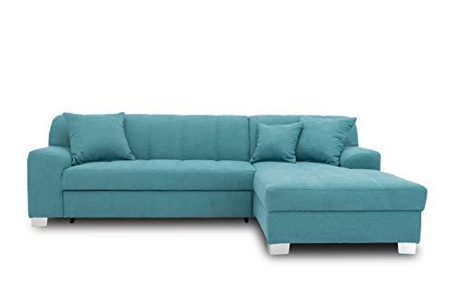 DOMO collection Capri Ecksofa | Eckcouch in L-Form mit Schlaffunktion, Polsterecke Schlafsofa, türkis, 239x152x75 cm