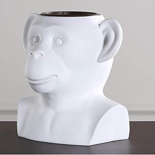 Verzamelobjecten Sculpturen Monkey Head Resin Pure Handgemaakte Bloempot Home Woonkamer Gedroogde Bloemen Vaas Ornamenten