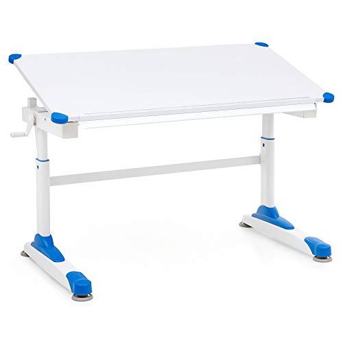 FineBuy Design Kinderschreibtisch FB13832 Holz 119 x 67 cm Blau/Weiß Maltisch | Neigbarer Mädchen Schülerschreibtisch | Höhenverstellbarer Kinder - Schreibtisch | Kindertisch Tischgestell Metall