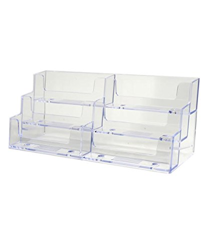 Source One Deluxe 6 Pocket Clear Business Card Holder Counter Top Style (S1-6Pocket Counter BC)