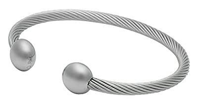 "QRAY Silver Deluxe Surgical Steel Golf Athletic Bracelet Men Women C-Shaped Health Wellness Bracelet (Large: 7.75""~8.5"")"