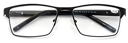 Men Premium Rectangle Metal with Plastic Temple Extra Large Reader - 152mm Wide Frame Reading Glasses (Black, 1.50)