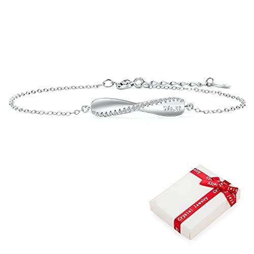 Pulsera de plata de ley 925 joyería real de la Mujer Mujeres chicas, Simplemente Grabado circonio cúbico Amor brazaletes de las pulseras regalo de cumpleaños para el día San Valentín de Navidad