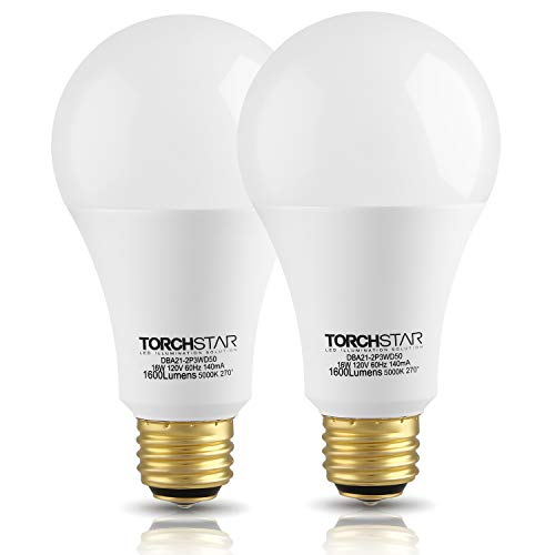 TORCHSTAR 3-Way A21 LED Light Bulb, 40/60/100W Equivalent, Energy Star & UL-Listed, 2700K Soft White, E26 Base for Table Lamp, Bedside Lamp, Floor Lamp, 3 Years Warranty, Pack of 2