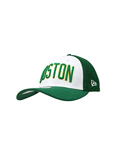 New Era Boston Celtics 39THIRTY NBA Baseballhut Curve Bill Cap, Grün/Weiß/Goldener Rand, Small/Medium