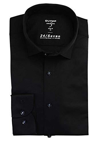 OLYMP Level Five Body fit Hemd 24 / Seven Langarm Jersey Stretch schwarz Größe 38
