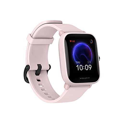 """Amazfit Bip U Smartwatch Fitness Reloj Inteligente 60+ Modos Deportivos 1.43"""" Pantalla táctil a Color Grande 5 ATM GPS Incorporado (SpO2) Oxígeno en Sangre Frecuencia cardíaca-Rosado"""
