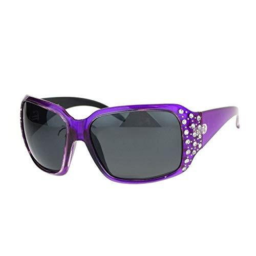 SA106 Polarized Lens Oversize Rhinestone Bling Iced Out Womens Sunglasses Purple