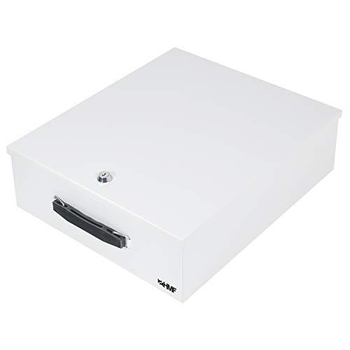 HMF 142-07 Abschließbare XL Dokumentenkassette für Ordner | DIN A4 / B4 | Lichtgrau