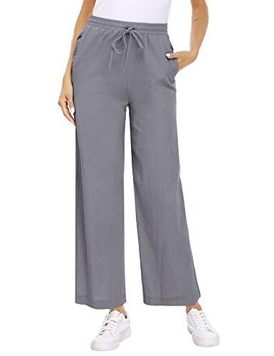 Akalnny Pantalones de Lino Mujer Pantalón con Cordón de Cintura Elástica Casual Pantalones de Verano con Bolsillo(Gris Oscuro, XXL)
