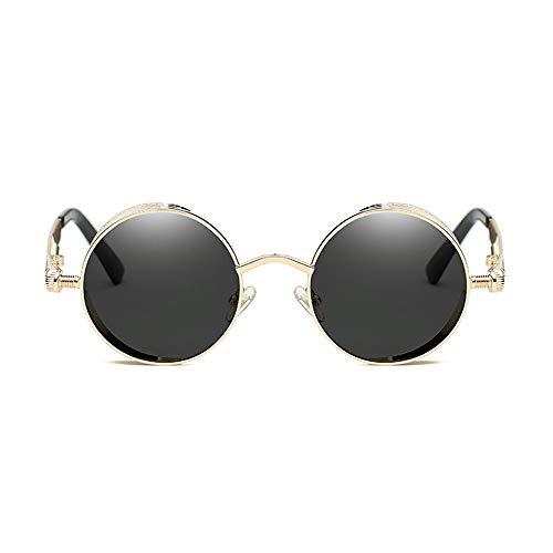 QCSMegy Gafas de Sol Gafas De Sol Clásicas De Steampunk Europa Y Los Estados Unidos Gafas Redondas Reflectantes Moda Retro Unisex UV400 Protección Gris Lente (Color : Gold)