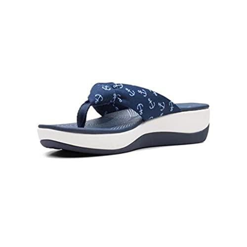 EliteMill Chanclas planas y casuales, sandalias de impresión en el hogar, suela de espuma nana, zapatillas de verano, elegantes y cómodas, sandalias de tacón profundo para uso diario en la playa